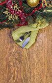 stock photo of dinner invitation  - Christmas dinner invitation on light brown wooden background - JPG