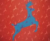 Reindeer running against blue and purple reindeer pattern