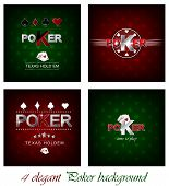 stock photo of hazard symbol  - Set of poker vector background with card symbol - JPG