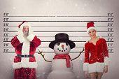 Santa is shocked to camera against mug shot background
