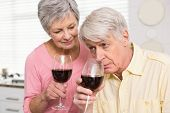 Senior couple drinking red wine at home in the kitchen