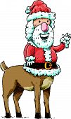 picture of centaur  - Cartoon Santa Claus with a centaur body gives a friendly wave - JPG