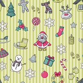 pic of christmas claus  - Vector  Happy New Year and Merry Christmas pattern in blue line - JPG
