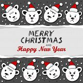 Polar bears in Santa Claus hats Christmas horizontal card with torn paper and and Christmas wishes
