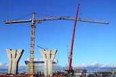 Construction Plant,  Erection Of Towers Crane, Connecting Outer Jib.