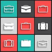 Vector briefcase white  icons
