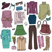 Fashion Sketchy.Womans clothing and accessories set