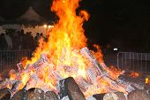 Great Fire During A Festival In Gadoni Central Sardinia - December