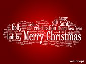 Vector concept or conceptual Merry Christmas holiday or Happy New Year winter abstract text word cloud on red background