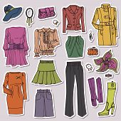 Fashion Sketch.Females clothing and accessories set.Sticker