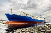 A Huge Tanker Ship In The Cargo Sea Port Of St. Petersburg Russia