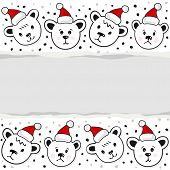 Polar bears in Santa Claus hats Christmas winter holidays horizontal card with torn paper on white