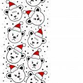Polar bears in Santa Claus hats Christmas winter holidays seamless vertical border on white