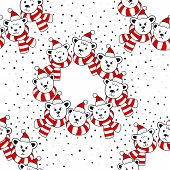 Polar bear heads in Santa Claus hats and scarfs seamless pattern on white