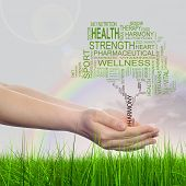 Concept or conceptual black health text word cloud or tagcloud as tree in man or woman hand on rainbow sky background with grass