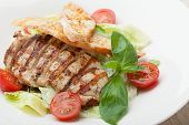 Gourmet Caesar Salad With Grilled Meat Fillet, Cherry Tomatoes, Croutons