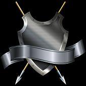 Medieval Shield And Silver Ribbon.
