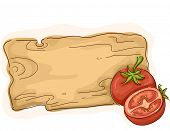 Ready to Print Illustration Featuring a Wooden Board with Tomatoes on the Side