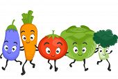 Mascot Illustration Featuring a Wide Variety of Healthy Vegetables