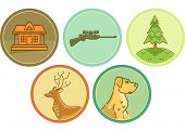 Icon Illustration Featuring Different Items Typically Associated with Hunting
