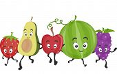 Mascot Illustration Featuring a Wide Assortment of Delicious and Healthy Fruits