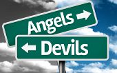 image of hells angels  - Angels x Devils creative sign with clouds as the background - JPG