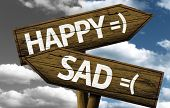 Happy x Sad creative sign with clouds as the background