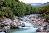 Nice river with clear water flowing between the rocks