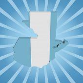 Guatemala map flag on blue sunburst illustration