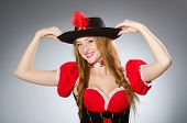 Woman pirate wearing hat and costume
