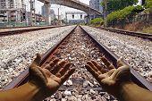 Rail road track.