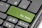 Our Story. Green Hot Key On Computer Keyboard