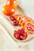 Fresh And Dried Tomatoes Wood Plate