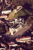 Old Town of Vilnius, Lithuania. Aerial view from piloted flying object