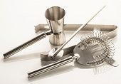 Set of bar or pub accessories