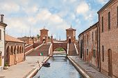 stock photo of ferrara  - the antique bridge Trepponti a famous five - JPG