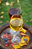 Glasses of wine on old barrel in a garden