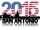 San Antonio skyline 2015 flag text