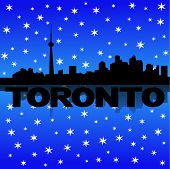 Toronto skyline reflected with snow vector illustration