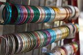 picture of bangles  - multicolor bangles arranged and displayed in the waiting customers - JPG