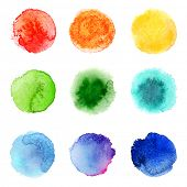 9 round hand drawn watercolor samples