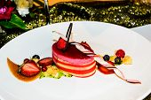 picture of pastry chef  - cake strawberry decoration in modern frence cuisine by pastry chef - JPG
