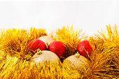 Christmas balls and Golden tinsel