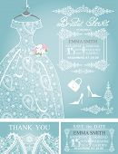 stock photo of lace  - Cute Bridal shower invitation - JPG