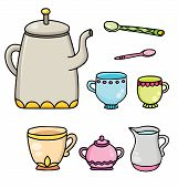 Set Of Isolated Line Drawing Color Tea Time Supplies