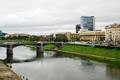 Zverynas Bridge And Lithuanian Parliament In Vilnius