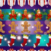 New Year Pattern With Gingerbread Man Gift, Christmas Candle And Socks For Gifts