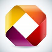 Moebius origami colorful paper rectangle on white background