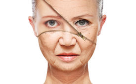 stock photo of wrinkled face  - beauty concept skin aging - JPG