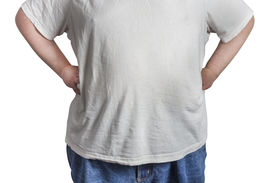 pic of bulging belly  - overweight Man in blue jeans and white t - JPG